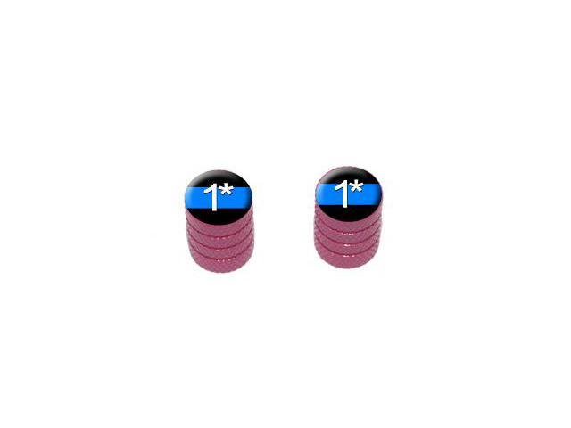 Thin Blue Line One Asterisk - Tire Rim Valve Stem Caps - Motorcycle Bike Bicycle - Pink