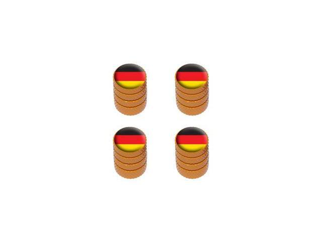 German Flag - Tire Rim Valve Stem Caps - Orange
