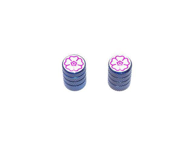Flower - Tire Rim Valve Stem Caps - Motorcycle Bike Bicycle - Blue