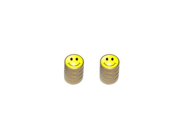 Smiley Face - Tire Rim Valve Stem Caps - Motorcycle Bike Bicycle - Gold