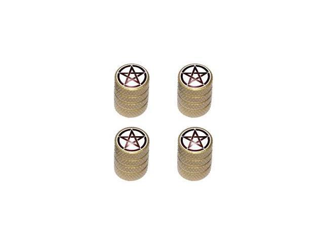 Pentagram - Witch Wicca Tire Rim Valve Stem Caps - Gold