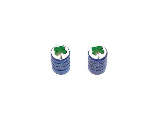 Four Leaf Clover - Tire Rim Valve Stem Caps - Motorcycle Bike Bicycle - Blue