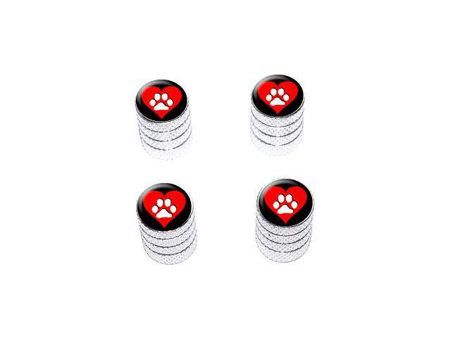 Paw Print Heart - Dog Cat Love - Tire Rim Valve Stem Caps - Aluminum