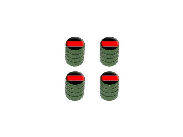 Thin Red Line - Firemen Tire Rim Valve Stem Caps - Green