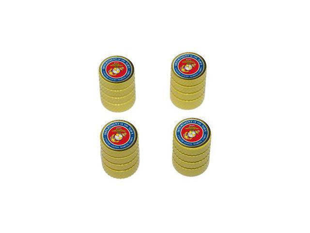 Marines - USMC United States Military Oorah - Tire Rim Wheel Valve Stem Caps - Yellow