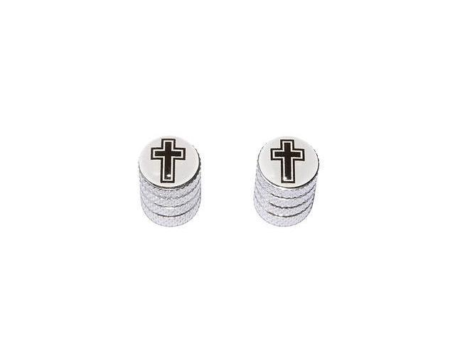 Cross - Christian Religion Religious - Tire Rim Valve Stem Caps - Motorcycle Bike Bicycle - Aluminum
