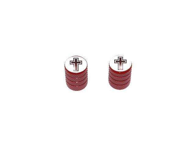 Cross - Religious Christian Tire Valve Stem Caps - Motorcycle Bike Bicycle - Red