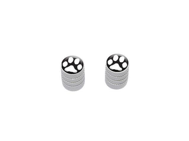 Paw Print White on Black - Tire Rim Valve Stem Caps - Motorcycle Bike Bicycle - White