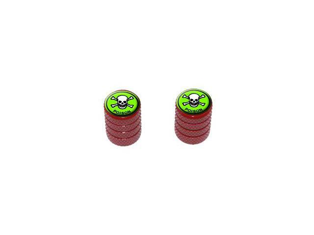 Poison Skull And Crossbones - Tire Rim Valve Stem Caps - Motorcycle Bike Bicycle - Red