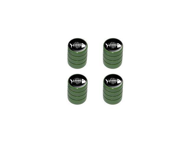 Fish Bones - Tire Rim Valve Stem Caps - Green