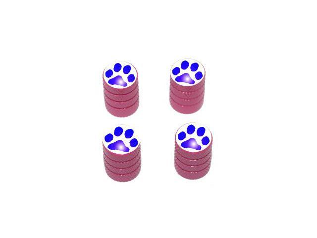 Paw Print Blue - Tire Rim Valve Stem Caps - Pink