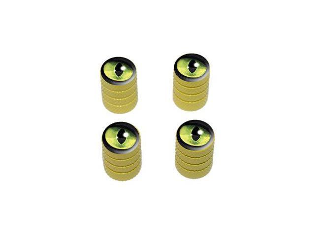 Cat Green Eye - Tire Rim Valve Stem Caps - Yellow