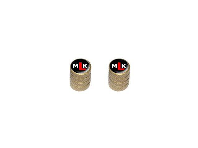 MLK Initials - Martin Luther King - Tire Rim Valve Stem Caps - Motorcycle Bike Bicycle - Gold