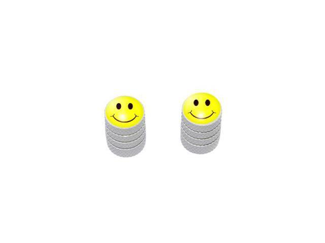 Smiley Face - Tire Rim Valve Stem Caps - Motorcycle Bike Bicycle - White