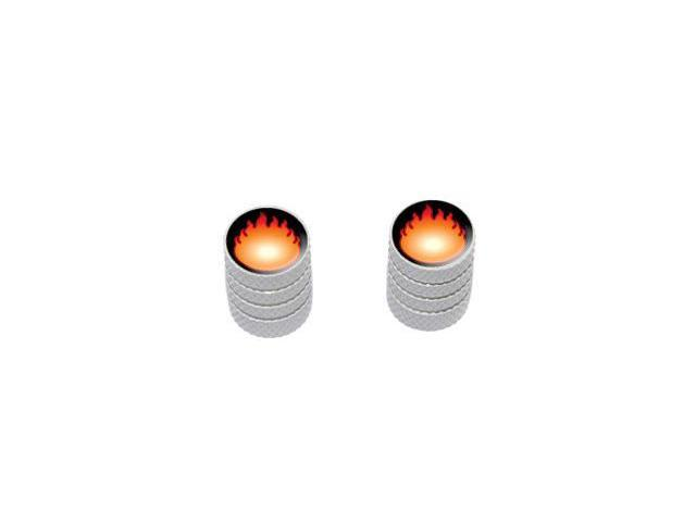 Fire Fireball - Tire Rim Valve Stem Caps - Motorcycle Bike Bicycle - White