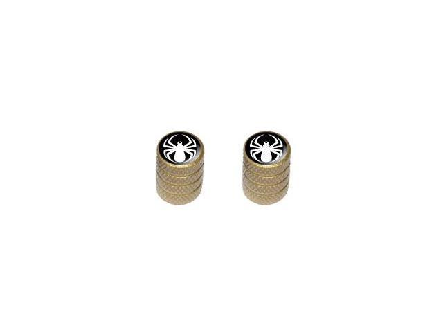 Spider White - Spiderman - Tire Rim Valve Stem Caps - Motorcycle Bike Bicycle - Gold