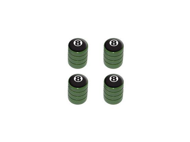 Eight Ball - Pool Tire Rim Valve Stem Caps - Green