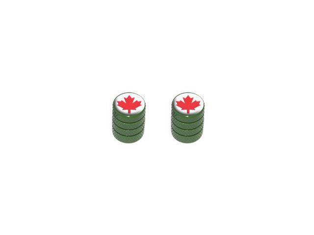 Canada Maple Leaf - Tire Rim Valve Stem Caps - Motorcycle Bike Bicycle - Green