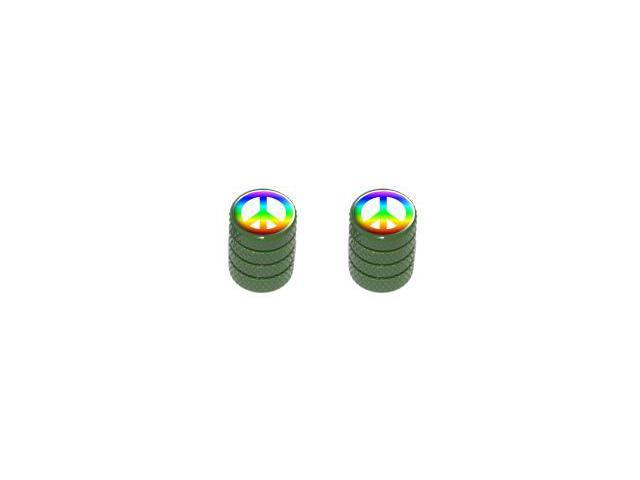 Peace Sign Rainbow - Tire Rim Valve Stem Caps - Motorcycle Bike Bicycle - Green