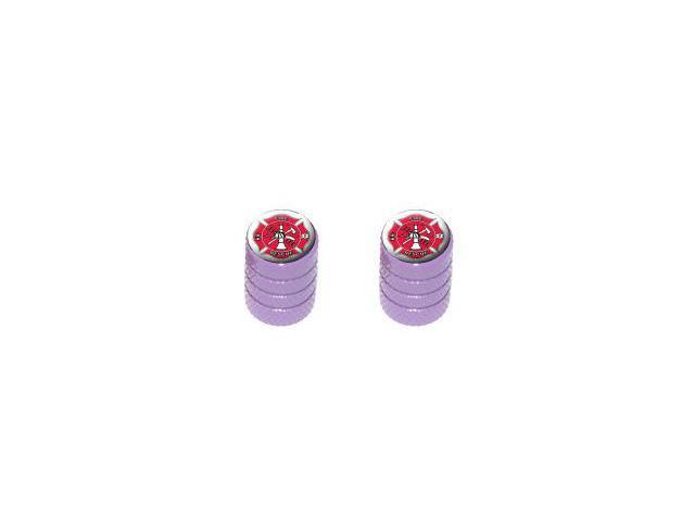 Fire and Rescue IAFF Firefighter Firemen - Tire Rim Valve Stem Caps - Motorcycle Bike - Purple