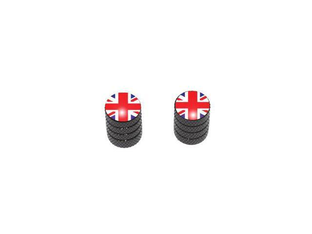 Great Britain Flag - Tire Rim Valve Stem Caps - Motorcycle Bike Bicycle - Black