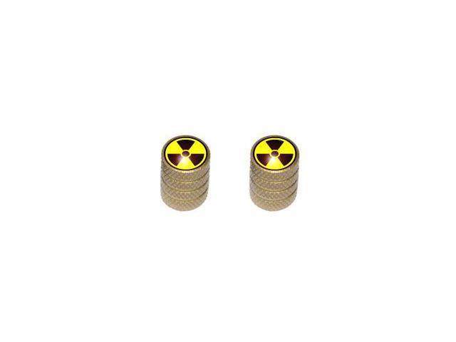 Radioactive Radiation - Tire Rim Valve Stem Caps - Motorcycle Bike Bicycle - Gold