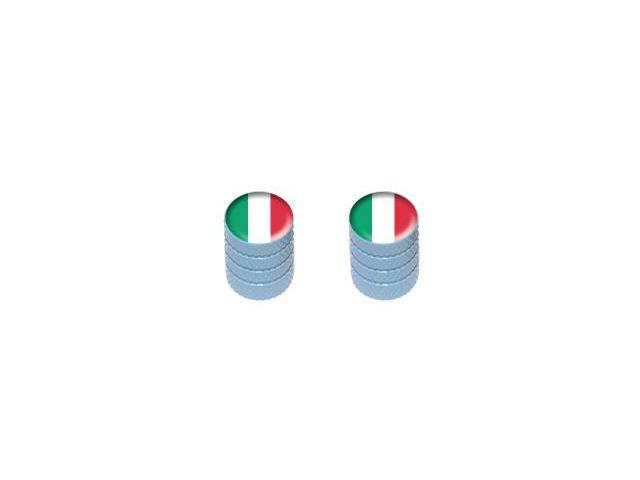 Italy Italian Flag - Tire Rim Valve Stem Caps - Motorcycle Bike Bicycle - Light Blue