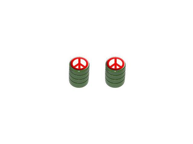 Peace Sign Red - Tire Rim Valve Stem Caps - Motorcycle Bike Bicycle - Green