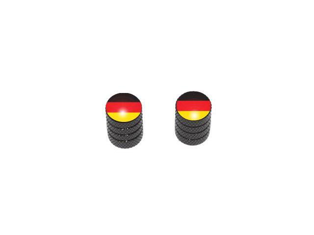 German Flag - Tire Rim Valve Stem Caps - Motorcycle Bike Bicycle - Black