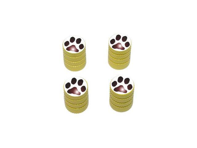 Paw Print - Dog Cat Tire Rim Valve Stem Caps - Yellow
