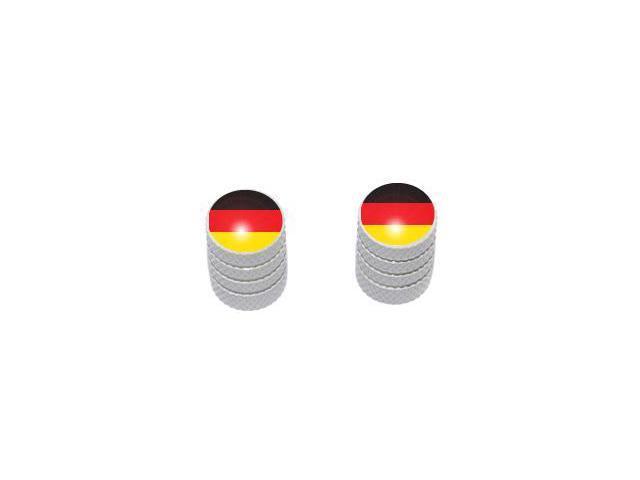 German Flag - Tire Rim Valve Stem Caps - Motorcycle Bike Bicycle - White