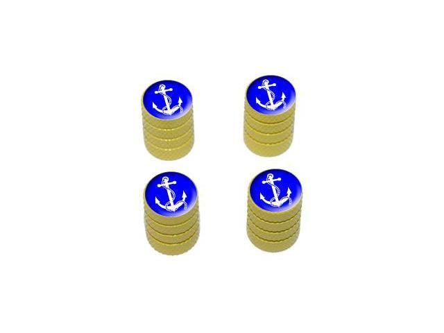 Anchor and Rope - Ship Boat Boating Sailing - Tire Rim Valve Stem Caps - Yellow