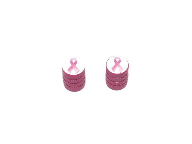 Breast Cancer Ribbon - Tire Rim Valve Stem Caps - Motorcycle Bike Bicycle - Pink