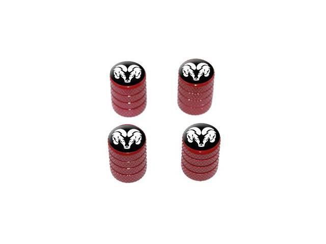 Ram Head White on Black - Tire Rim Valve Stem Caps - Red