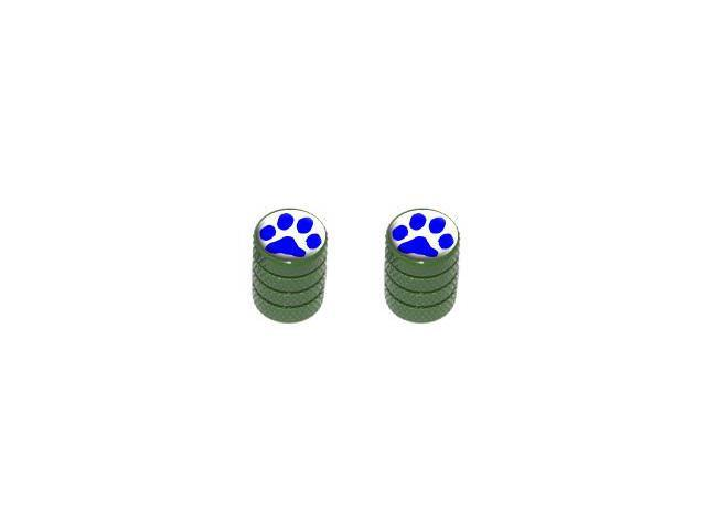Paw Print Blue - Tire Rim Valve Stem Caps - Motorcycle Bike Bicycle - Green