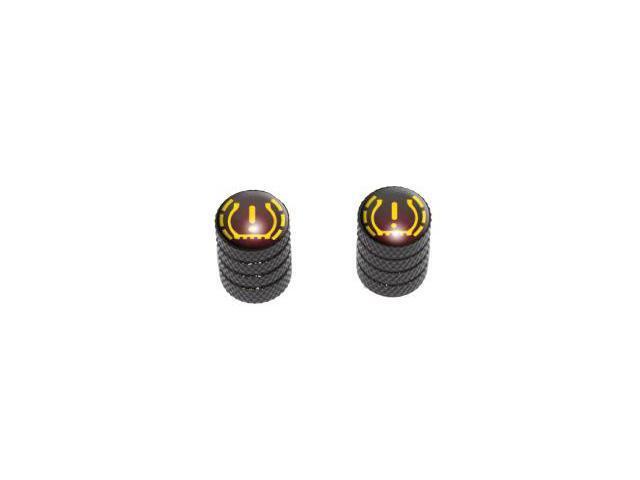 TPMS Tire Pressure Monitoring System Symbol - Tire Rim Valve Stem Caps - Motorcycle Bicycle - Black