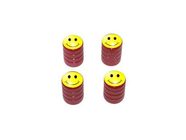 Smiley Happy Face - Tire Rim Valve Stem Caps - Red