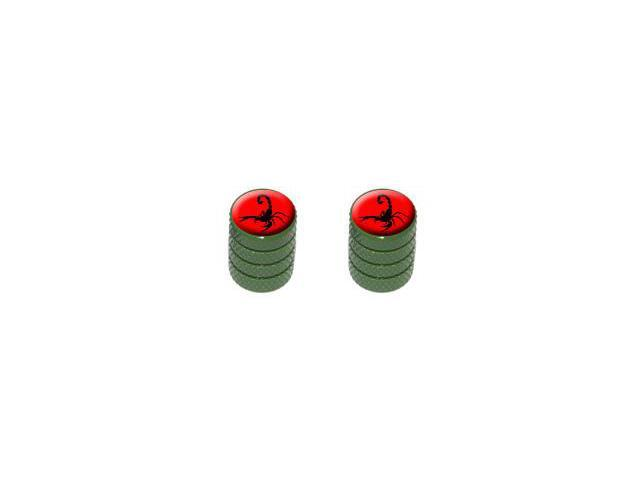 Scorpion Black on Red - Tire Rim Valve Stem Caps - Motorcycle Bike Bicycle - Green