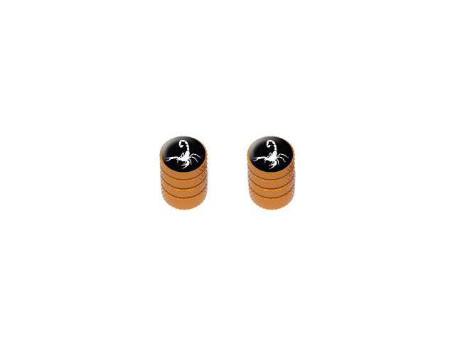 Scorpion White on Black - Tire Rim Valve Stem Caps - Motorcycle Bike Bicycle - Orange