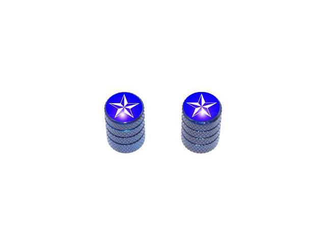 Nautical Star Blue - Tire Rim Valve Stem Caps - Motorcycle Bike Bicycle - Blue