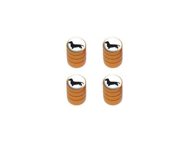 Dachshund - Dog Tire Rim Valve Stem Caps - Orange