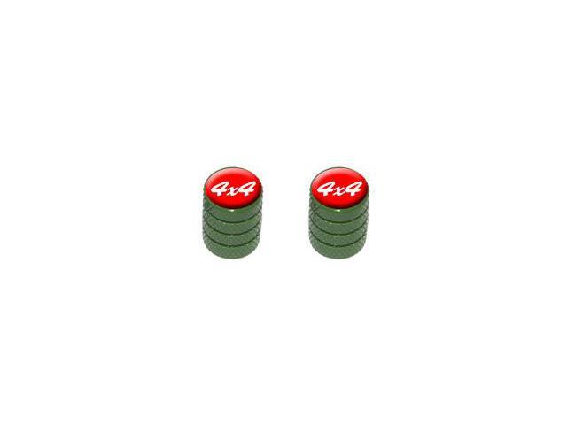 4x4 Off Road White on Red - Tire Rim Valve Stem Caps - Motorcycle Bike Bicycle - Green