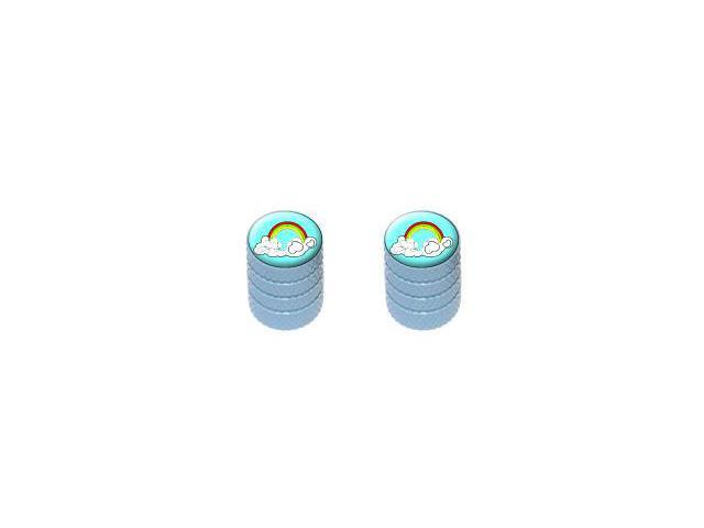 Rainbow In Clouds - Tire Rim Valve Stem Caps - Motorcycle Bike Bicycle - Light Blue