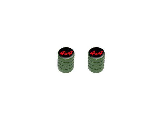 4x4 Off Road Red on Black - Tire Rim Valve Stem Caps - Motorcycle Bike Bicycle - Green