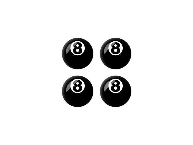 Eight Ball - Pool Billiards - Wheel Center Cap 3D Domed Set of 4 Stickers Badges