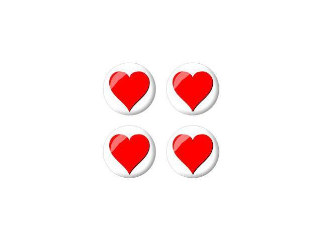 Heart - Love - Wheel Center Cap 3D Domed Set of 4 Stickers Badges