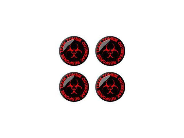 Zombie Outbreak Response Team Red - Wheel Center Cap 3D Domed Set of 4 Stickers Badges
