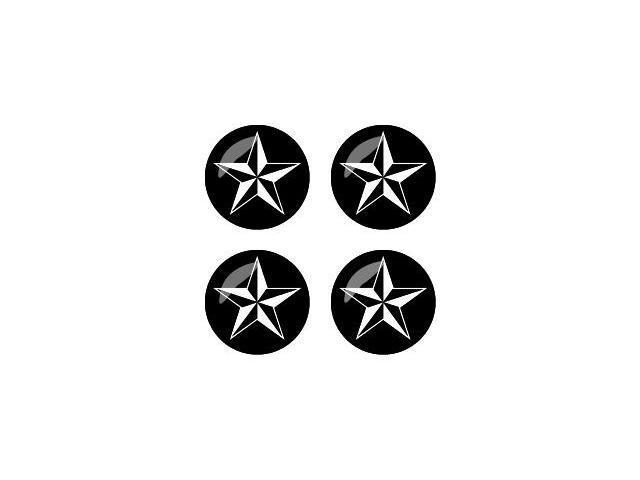 Nautical Star - Black - Wheel Center Cap 3D Domed Set of 4 Stickers Badges
