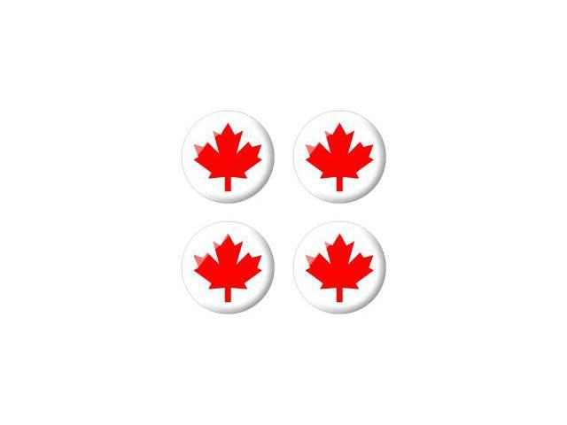 Canada Maple Leaf Flag - Wheel Center Cap 3D Domed Set of 4 Stickers Badges