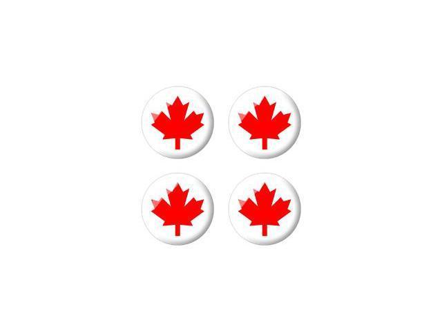 Canada Maple Leaf Flag - Wheel Center Cap 3D Domed Set of 4 Stickers Badges